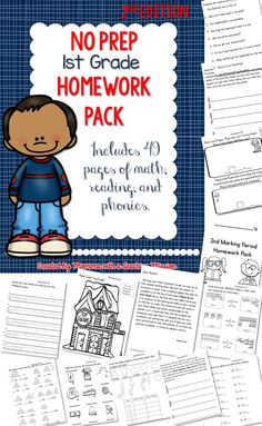 2nd edition homework pack for 1st grade. Print and go no prep homework, this is also great for subs, morning work, or filler activities during the 2nd marking period or 2nd quarter.