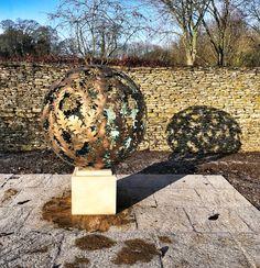 A diameter solid brass Garden sculpture sphere. The design is based on a Hydrangea flower, the choice of my client. Steel Sculpture, Garden Sculpture, David Murphy, Hydrangea Flower, Flowers, Solid Brass, Sculptures, Texture, Outdoor Decor