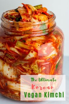 Homemade Korean Vegan Kimchi - perfectly vibrant, spicy, and sour with the hint of umami that will pair extremely well in any buddha bowls and fried rice. Vegan Kimchi Recipe, Korean Kimchi Recipe, Korean Food Kimchi, Baby Shrimp, Food Shows, Fermented Foods, Asian Recipes, Asian Desserts, Vegetarian Recipes