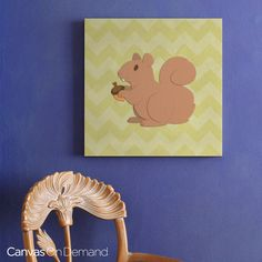"""This adorable canvas print of a squirrel against a yellow chevron-patterned background brings a cute touch to any space or room! See more of this """"Squirrel - Woodland Creatures"""" canvas by Circle Kids and our entire Cartoon Animal Wall Art Collection at CanvasOnDemand.com."""