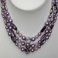 Purple vintage beaded necklace Hong Kong | 1950s jewellery | Jewels & Finery UK