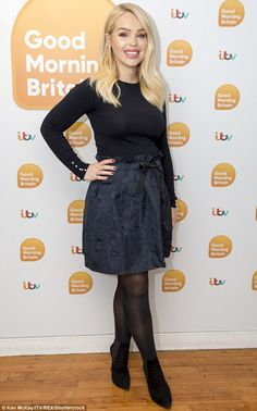 Katie Piper.. Zara sweater with pearly cuffs, and H&M jacquard patterned skirt..