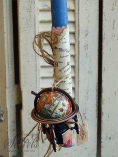 Μπλε χειροποίητη πασχαλινή λαμπάδα για αγόρια με υδρόγειο, annassecret, Χειροποιητες μπομπονιερες γαμου, Χειροποιητες μπομπονιερες βαπτισης Easter Ideas, Alex And Ani Charms, Candles, Jewelry, Decor, Light Bulb Vase, Easter Activities, Jewlery, Decoration