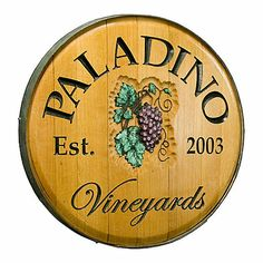 Personalized Reclaimed Wine Barrel Head with Vineyards and Grapes at Wine Enthusiast - $349.00