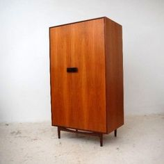 Retro wardrobe by lebus mid century polished satinwood for Vintage danish modern bedroom furniture