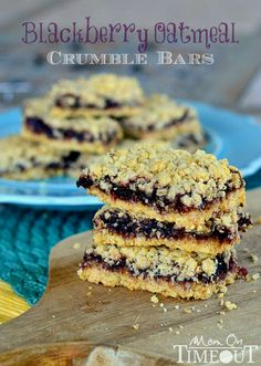 Blackberry Oatmeal Crumble Bars from MomOnTimeout.com - Made with only four ingredients and are out-of-this-world amazing!