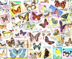 Lot of Mixed Worldwide Butterfly Postage Stamps for Altered Arts Collage Destash. $3.50, via Etsy. - want!!!