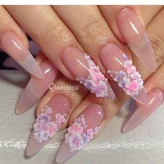 Pastel pedals on clear nails tips extension Clear Nail Tips, Clear Acrylic Nails, Clear Nails, Acrylic Nail Art, 3d Nails Art, Fancy Nails, Bling Nails, Love Nails, Rhinestone Nails