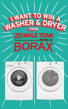 Who could use a NEW #washer & #dryer? Repin and enter to win from @20 Mule Team Borax!