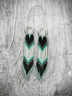 XX Long Fringe Beaded Earrings, Mint, Teal, Black Shoulder Dusters, Long Seed Bead Earrings, Native American Inspired, Tribal, Southwestern. $90.00, via Etsy.