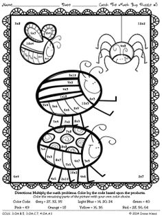 Spring Math Coloring Sheets Inspirational Multiplication Catch the Math Bug Color by the Code Math Coloring Worksheets, Literacy Worksheets, Math Activities, Spring Coloring Pages, School Coloring Pages, Maths Times Tables, Color Puzzle, Maths Puzzles, Multiplication Facts