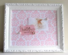 Bulletin Magnetic Board Pink and White Damask Fabric Girls Nursery Wall Decor Boutique Gift PBK Pottery Barn Kids
