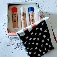 My 4th of July lip balm set. Check out my Etsy page for other great deals. Link in bio. #4thofjuly #lip balm #redwhiteandblue #giftboxes. #giftset #patriotic #usa #america