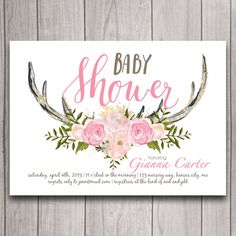 Antler Baby Shower Invitation Digital Download, Woodland Theme, Oh Deer Party Invite Printable, Couples Coed Shower, Florals, Tribal, Boho