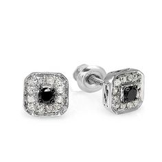 0.50 Carat (ctw) Sterling Silver Ladies Round Black and White Diamond Stud Earrings *** A special jewelry just for you to view. See it now! : trend jewelry 2016