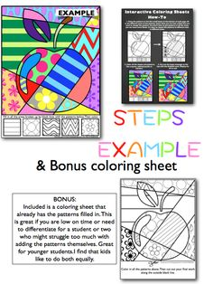 Interactive Coloring Sheets! No two are alike--students have to really solve problems to design their coloring sheet. The are great creative brain breaks.