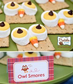 Fall party ideas food-sweets I'd use the chocolate covered graham crackers or put a layer of Nutella or PB on the cracker to jazz it up !