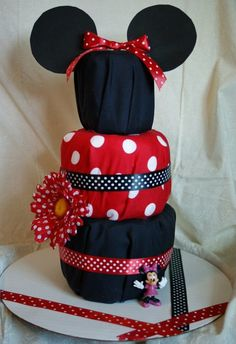 minnie mouse diaper cake | just a pic* cute minnie mouse diaper cake | Let's get this party sta ...