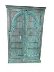 Vintage Cabinet Reclaimed Teal Patina Mehrab Door Storage Armoire