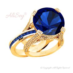 14k Rose Gold Plated 925 Sterling Silver, Blue Sapphire Wedding Set, Style # ASR07RGP-BSP