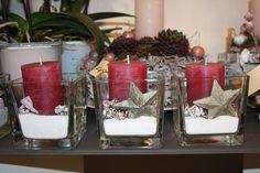 kleine Weihnachtsdekoration, Kerze im Glas - little christmas decoration, candle in glass