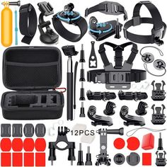 Leknes Essentials Accessories Kit For Gopro Hero 5 4 3 Hero Session Action Camera Mounts For Most Sports Camera In Parachuting Diving Surfing Rowing Running Cycling Camping With Case Gopro Hero 5, Gopro 6, Gopro Camera, Camping, Kit, Gopro Accessories, Photo Accessories, Outdoor Camera, Gopro Kamera