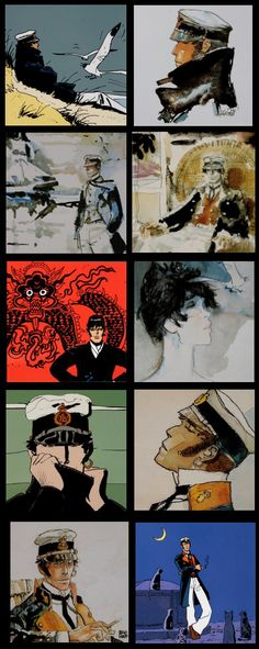 10 comics postcards - Hugo Pratt (Corto Maltese) - 14x 14 cm