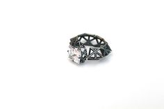 "Lindsay Hill Jewellery ""Fingerprints Princess""-oxidised silver with cubic zirconia ring R0041"