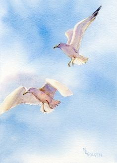 The noisy, argumentative seagulls on the sand turn into pure music as they soar into the blue.This giclée image from an original watercolor is printed on Arches Hotpress watercolor paper with archival inks. It is presented in a clear bag with a fl. Animals Watercolor, Art Watercolor, Art Plage, Graffiti Kunst, Sea Birds, Beach Art, Bird Prints, Bird Art, Beautiful Birds