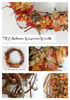 Grapevine Wreaths | How To Make an Autumn Grapevine Wreath Find out how to make this wreath for less than $5! Bring nature into your home! It is easy, frugal, and beautiful!  happydealhappyday.com