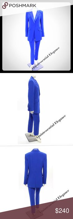 """DIANE VON FURSTENBERG Cobalt Blue Pants Suit Jacket has a notched satin lapel, padded shoulders, with a single button closure, front pockets, fully lined. Triacetate, polyester, spandex blend. Small snag on front near right lapel. Approximate measurements: B 40"""" Cross Back 16 3/4"""" Length 31"""" Sleeve Length 25 1/2""""   Pants are straight legged zipper front and hook and eye closure. Pulled thread on waistband. Approximate measurements: W 34 1/2"""" H 41"""" Inseam 30 1/4"""" Leg Opening 6 3/4"""" Rise 10…"""