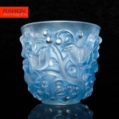 ANTIQUE 20thC FRENCH RENE' LALIQUE AVALLON OPALESCENT & STAINED More Pins Like This One At FOSTERGINGER @ PINTEREST No Pin Limitsでこのようなピンがいっぱいになるピンの限界GLASS VASE c1927