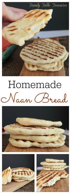 Homemade Naan Bread is a delicious Indian flatbread that's easy to make and very versatile! Great for sopping up your favorite curry sauce! Naan Bread Recipe Easy, Homemade Naan Bread, Recipes With Naan Bread, Indian Food Recipes, Real Food Recipes, Thai Recipes, Quiche, Sandwiches, Curry Dishes