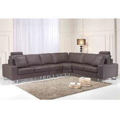 @Overstock - Contemporary Brown Leather Sectional Couch - This roomy leather couch will surely beautify your living room and accommodate all your guests. All seating surfaces and cushions are made of top grade genuine cowhide, with leatherette finish on the remainder of this piece.    http://www.overstock.com/Home-Garden/Contemporary-Brown-Leather-Sectional-Couch/7974343/product.html?CID=214117  $2,199.99