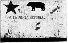 (1846) First California Bear Flag.  It was briefly used by American immigrant rebels of the California Republic episode, in the Mexican province of Alta California. (1890 photo of the original 1846 Bear Flag.  The flag was destroyed by fire during the 1906 Earthquake).