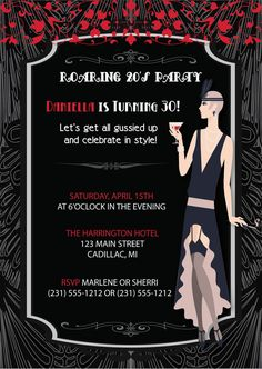 Roaring 20s Adult Birthday Party Invitations for 30th, 40th, 60th or any age birthday. This listing is for 5 X 7 digital printable card (DIGITAL