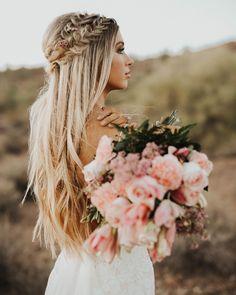 crown braid | long hairstyle | wedding hair | blonde | bridal | bride | flower | floral | romantics