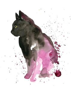 would love a watercolor cat tattoo, I think I would use blue instead of purple. Dogs Tattoo, Tattoo Gato, Tattoo Wolf, Painting & Drawing, Watercolor Paintings, Cat Watercolour, Black Watercolor Tattoo, Water Drawing, Black Cat Tattoos