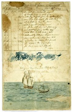 antique ship's logbook 1797