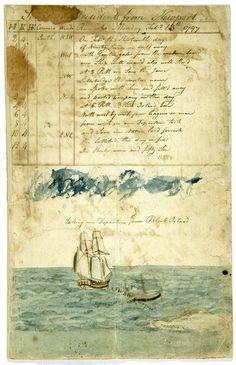 antique ship's logbook 1797