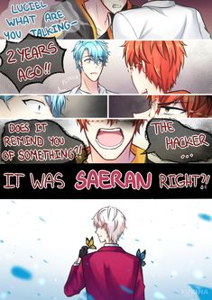 """yukina-chi: """" You lied to me While everyone draw fluffly stuffs for Christmas or Ray's route, here I come with an (hopefully) angsty comic ! Mystic Messenger V, You Lied To Me, Lie To Me, Hello Darkness Smile Friend, Zen, Mystic Messenger Characters, Alien Drawings, Kamigami No Asobi, Kimi No Na Wa"""