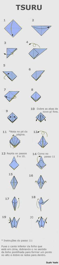 O que é tsuru? Tsuru é o nome daquele passarinho feito de origami. Diz a lenda que se você fizer 1000 tsurus, mentalizando um desejo enquanto faz, o seu desejo se torna realidade. Eu vi uma cortina…