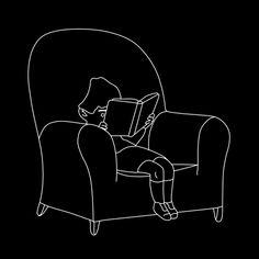 """Estático. GIF basado en la ilustración """"Portrait of a small boy reading"""" de Gluyas Williams"""