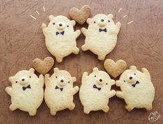 Things that make you go AWW! Like puppies, bunnies, babies, and so on. Bear Cookies, Biscuit Cookies, Cute Cookies, Cafe Menu, Cafe Food, Kawaii Cooking, Cute Desserts, Cookie Designs, Aesthetic Food