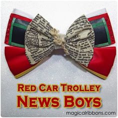 Magical Ribbons - Red Car Trolley News Boys Bow