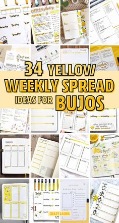 Check out the 30 best YELLOW weekly spread ideas for your bullet journal Bullet Journal Weekly Layout, Bullet Journal For Beginners, Bullet Journal Monthly Spread, Bullet Journal Hacks, Bullet Journal How To Start A, Bullet Journal Ideas Pages, Bullet Journal Inspiration, Bullet Journals, Weekly Spread