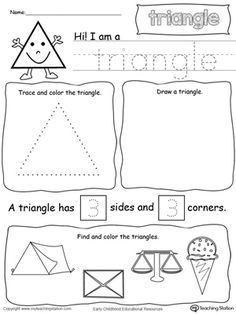 **FREE** Shapes: All About Triangles Worksheet. Learn all about the shape triangle in this math printable worksheet. Practice tracing, drawing, coloring pictures of triangles, writing the number of sides and corners.