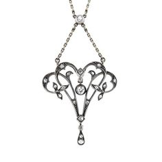 A. Brandt + Son - Victorian Sterling-Topped 14kt Diamond Lavalier Necklace