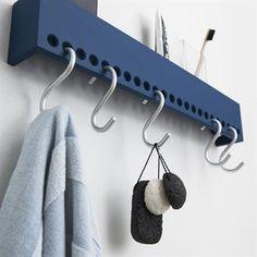 Nomess So-Hooked Wandgarderobe 60 cm blau Wall Racks, Wall Storage, Storage Rack, Diy Storage, Support Mural, Ideias Diy, Coat Hooks, Shelf Hooks, Diy Hooks