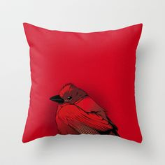 Little Red Bird Throw Pillow by CranioDsgn - $20.00